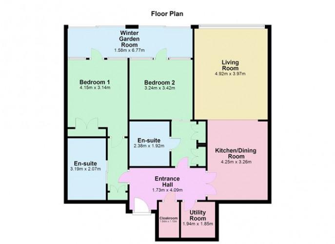 Floorplan for Apartment 33, The Barrington, Lansdowne Place, Ballsbridge, Dublin 4