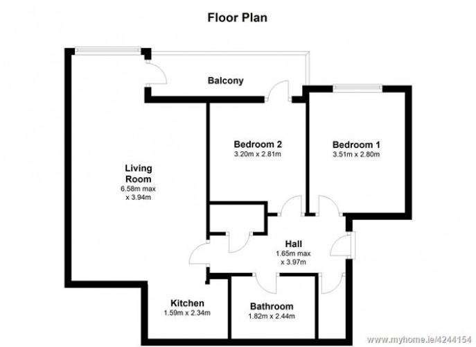 Floorplan for Apt 58, Block E, Smithfield Market, Smithfield, Dublin 7