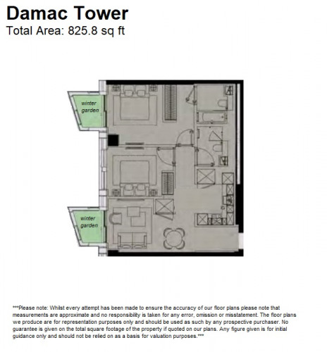 Floorplan for Damac Tower, 71 Bondway, Nine Elms, SW8