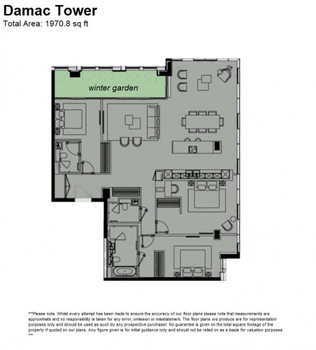 Floorplan for Damac Tower, 71 Bondway, Nine Elms, London, SW8