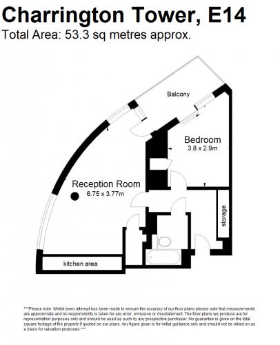 Floorplan for Charrington Tower, E14