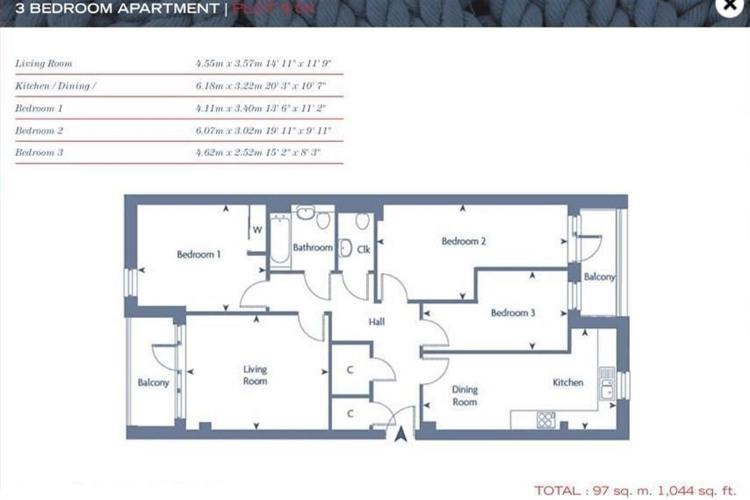 Floorplan for Ancora House, Coalmakers Wharf, London E14