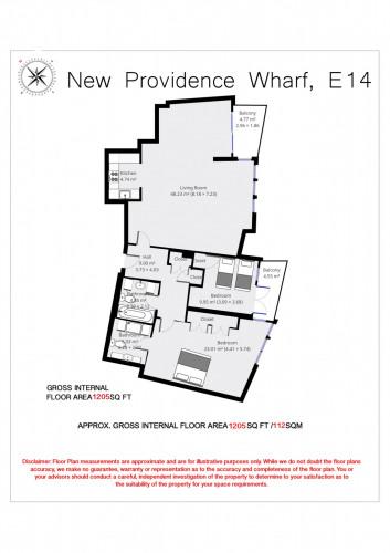 Floorplan for New Providence Wharf, Fairmont Avenue, London, E14