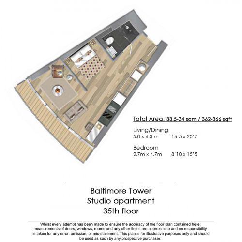 Floorplan for Baltimore Tower, Canary Wharf, E14