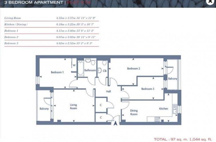 Floorplan for Ancora House, E14