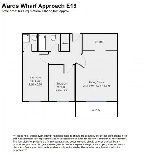 Floorplan for Wards Wharf Approach, E16